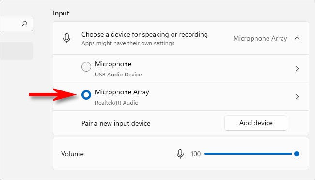 In Sound Input settings, select a microphone with the radio buttons.