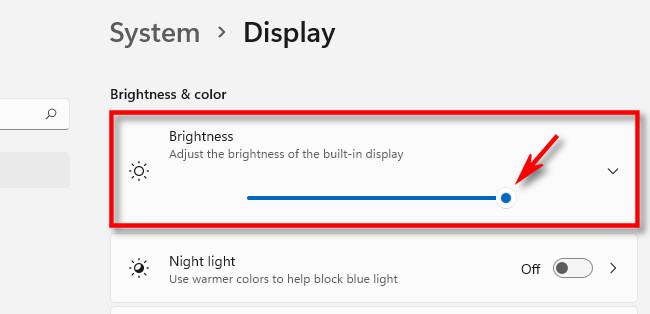 "Use the ""Brightness"" slider in Windows Settings to adjust screen brightness."