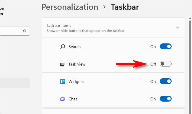 """Flip the """"Task View"""" switch to """"Off."""""""