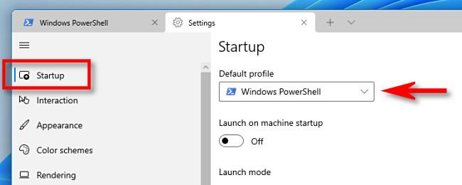 "Select ""Startup,"" then click the ""Default Profile"" drop-down menu."