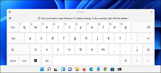 The Windows 11 touch keyboard
