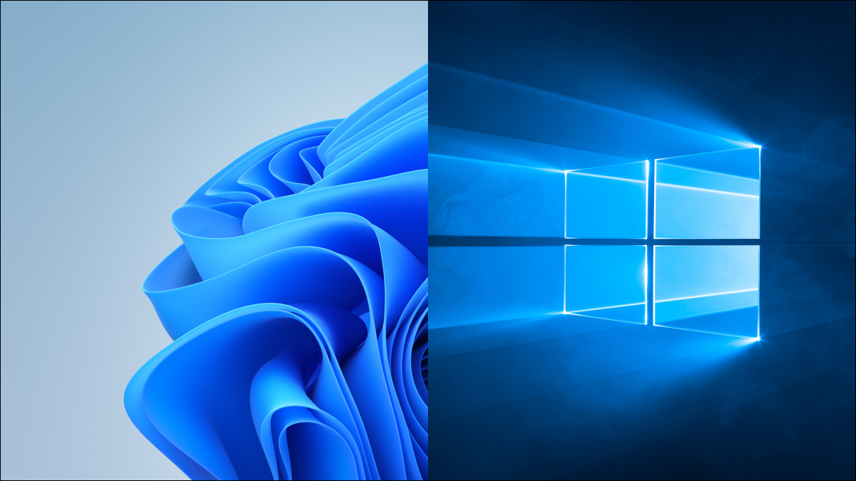 Windows 11 and Windows 10 default desktop backgrounds.