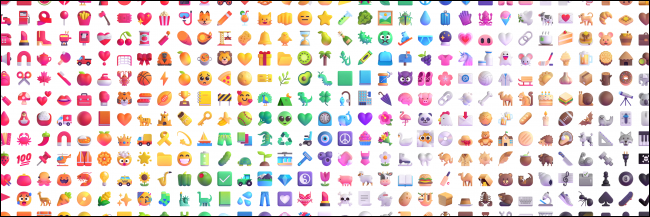 A colorful selection of Windows 11 emoji.
