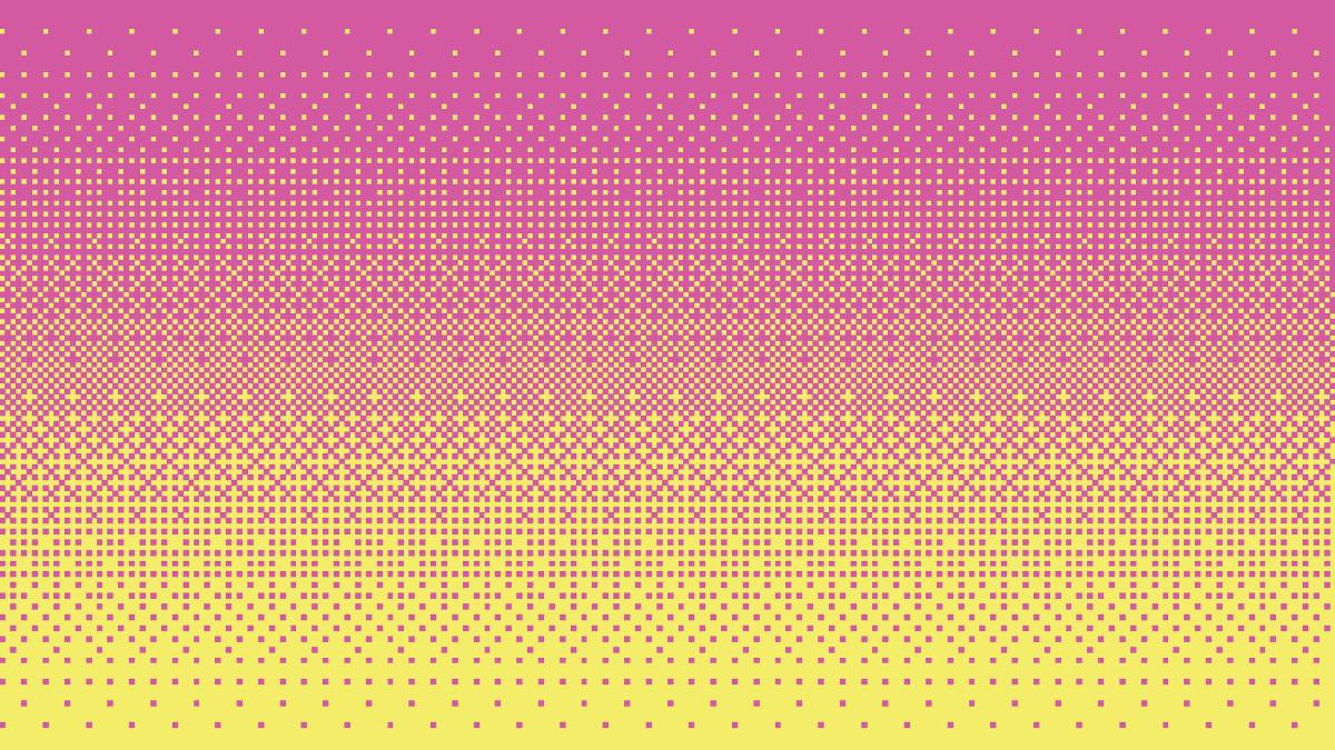 Pixel art dithering giallo e rosa