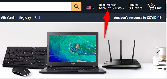 """Click """"Account & Lists"""" on the Amazon site."""