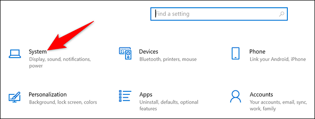 """click on """"System"""" in Settings on Windows 10."""
