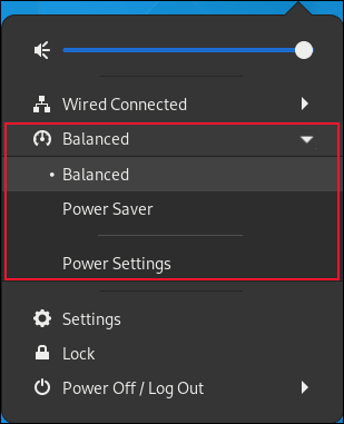 GNOME Status menu with power options highlighted