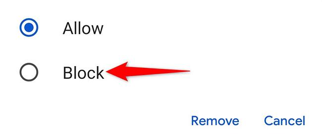 """Tocca un sito e scegli """"Blocca"""" dal menu in Chrome su Android."""