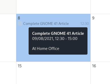 GNOME calendar tooltip summary
