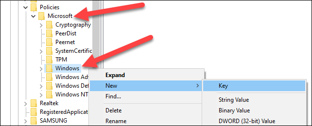 """Right-click the """"Windows"""" folder. Select """"New"""" and """"Key"""" from the menu."""