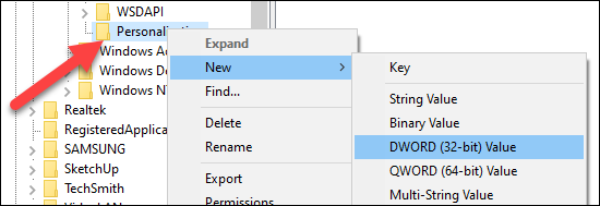 """Right-click the """"Personalization"""" folder and click """"New"""" then """"DWORD (32-bit) Value"""" from the menu."""
