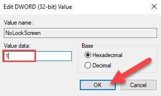 "Double-click ""NoLockScreen"" and enter ""1"" for the ""Value Data"" field."