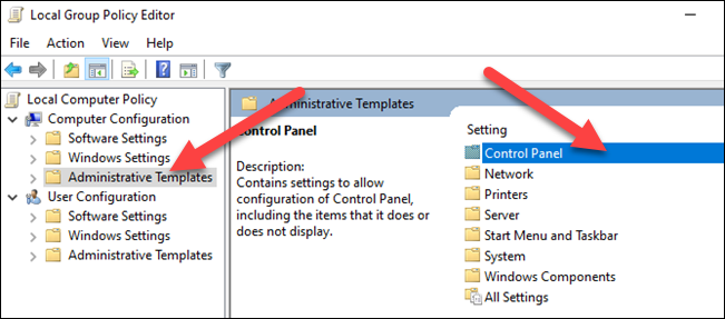 """Open""""Administrative Templates"""" and then double-click """"Control Panel."""""""