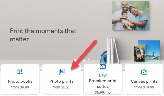 "Select ""Photo Prints."""