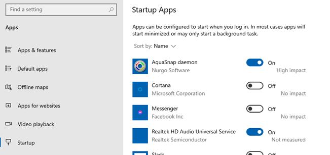Windows 10's Startup configuration screen.