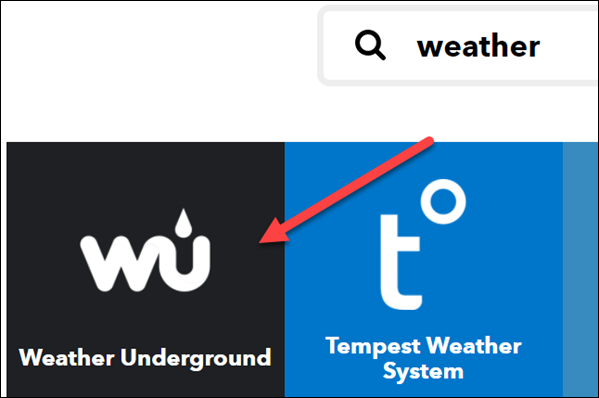 "Select ""Weather Underground."""