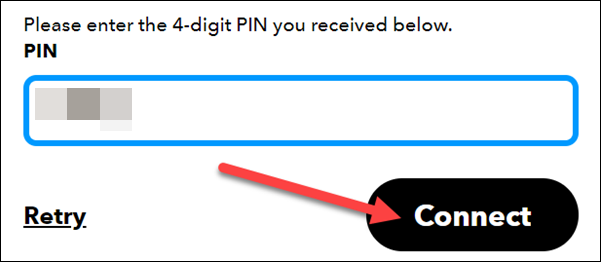 """Click """"Connect"""" after entering the PIN."""