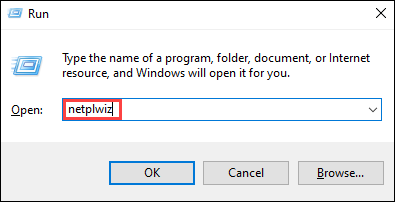 "Open the Run menu and type ""netplwiz."""