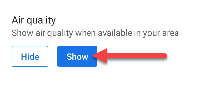 """Select """"Show"""" for Air Quality."""