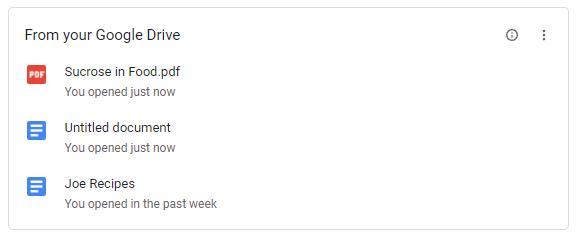 Google Drive Chrome card