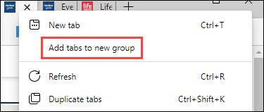 """Right-click and select """"Add Tabs to New Group."""""""