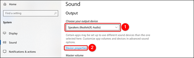 """Select speakers from """"Select your output device"""" drop-down menu and click """"Unit properties"""" in Settings on Windows 10."""