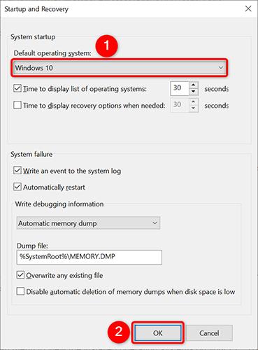 """Selezionare il sistema operativo predefinito dal menu a discesa """"Sistema operativo predefinito"""" nella finestra """"Avvio e ripristino""""."""