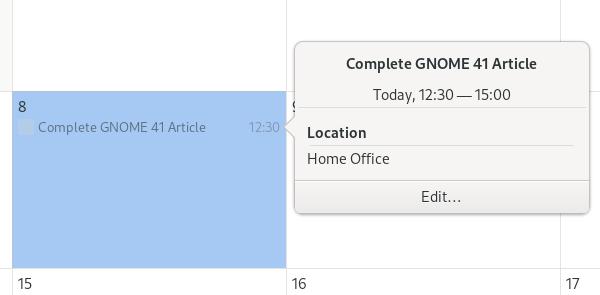 GNOME calendar small dialog summary