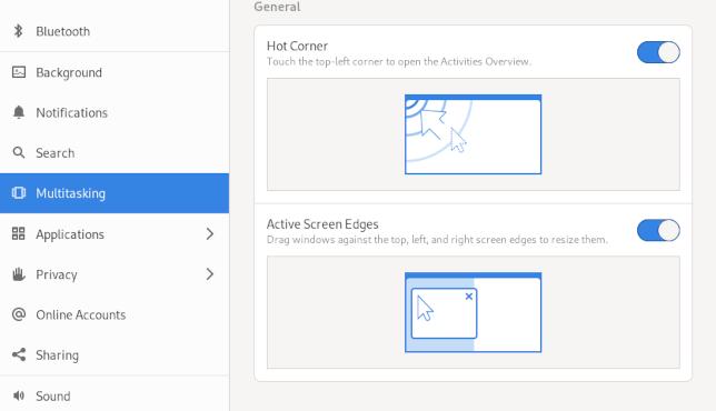 GNOME multitasking settings page