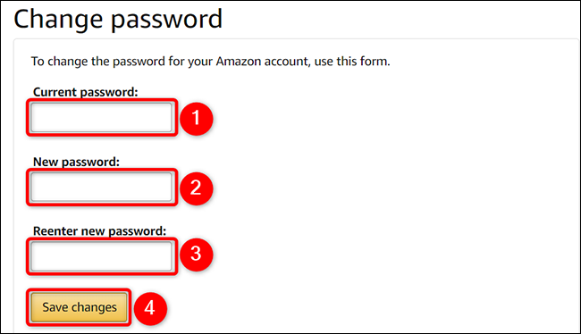"""Change the account password on the """"Change Password"""" page of the Amazon site."""