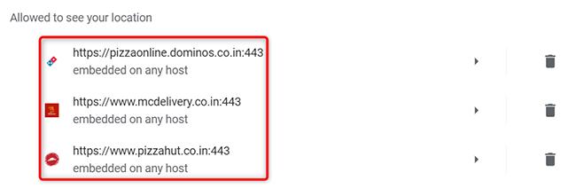 Un elenco di siti che possono accedere alla posizione dell'utente in Chrome su desktop.