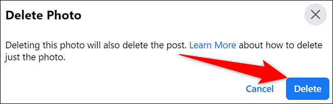 """Select """"Delete"""" in the """"Delete Photo"""" prompt on Facebook."""