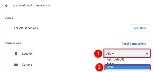 """Fai clic su """"Consenti"""" e poi su """"Blocca"""" per un sito in Chrome sul desktop."""