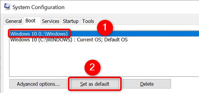 """Selezionare un sistema operativo e fare clic su """"Imposta come predefinito"""" nella scheda """"Avvio"""" nella finestra """"Configurazione di sistema""""."""