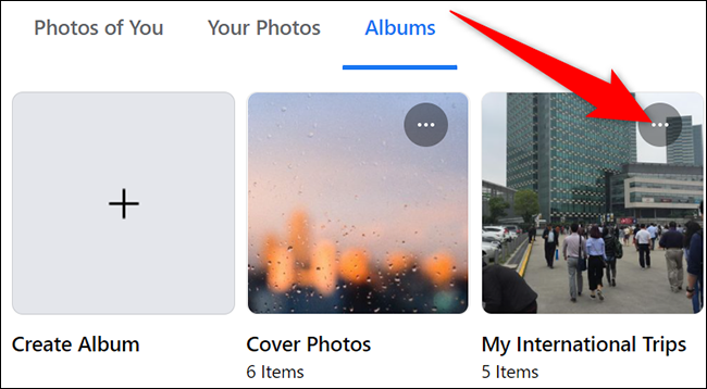 Click the three dots in the top-right corner of an album on Facebook.