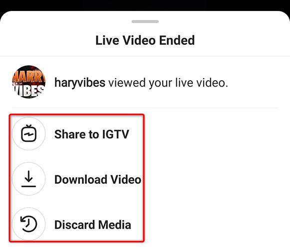 """Instagram's """"Live Video Ended"""" menu."""