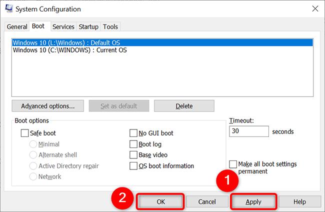 """Fare clic su """"Applica"""" seguito da """"OK"""" nella finestra """"Configurazione di sistema""""."""