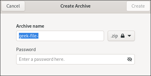GNOME Files compressed archive dialog