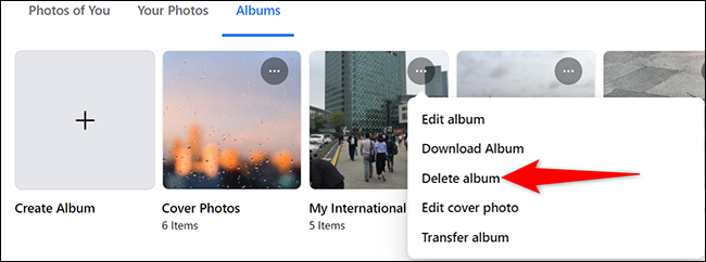 """Select """"Delete Album"""" from the three-dots menu for a photo album on Facebook."""