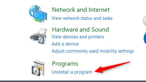Click Uninstall a Program under Programs.