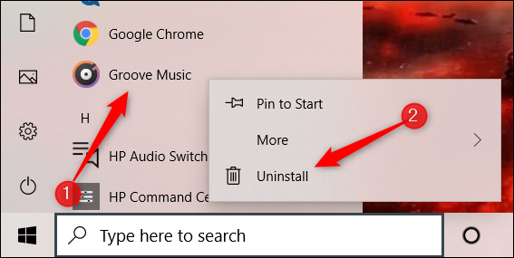 Right-click on an app and then select Uninstall