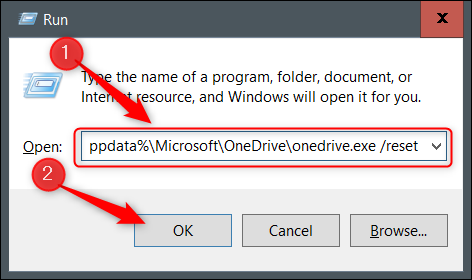 Enter the One Drive Reset command.
