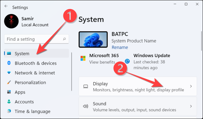 """From """"System"""" select, choose """"Display"""" on the right-hand side."""