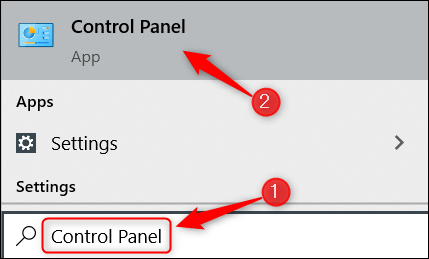 Search for and select Control Panel.