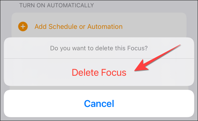 """Select """"Delete Focus"""" again from the confirmation pop up."""