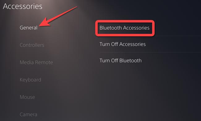 """Seleziona """"Generale"""" e scegli """"Accessori Bluetooth"""""""