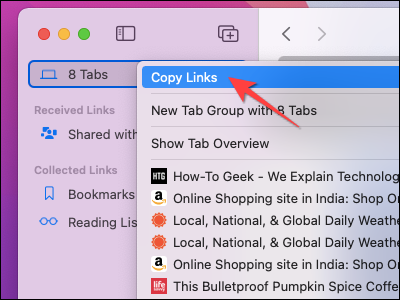 """Select """"Copy LInks"""" from the context menu in Safari on Mac."""