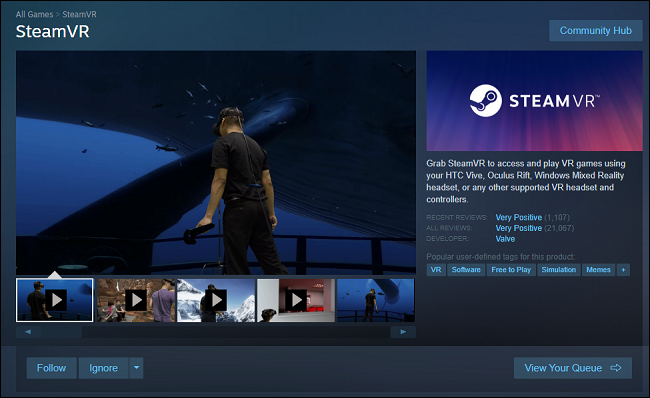 SteamVR on the Steam Store