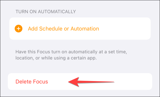 "Select ""Delete Focus."""
