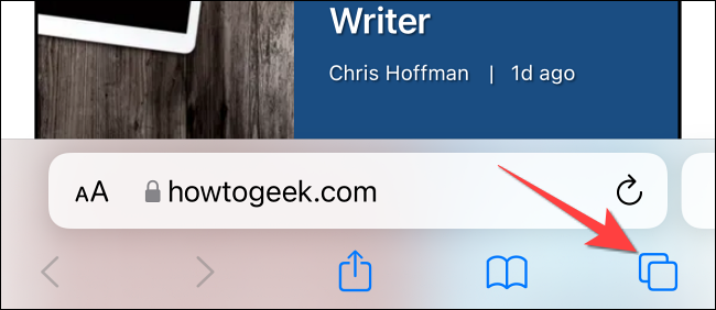 """Tap the """"Pages"""" button (Cascading squares) in the bottom-left corner of Safari."""